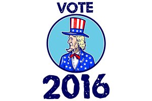 Vote 2016 Uncle Sam TopHat American