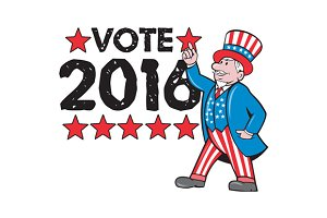 Vote 2016 Uncle Sam Hand Pointing Up