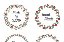 Handmade labels with wreaths