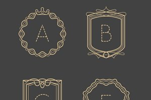 Calligraphic vintage monograms