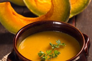 pumpkins soup in a rustic style