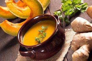 pumpkin soup in a cute rustic bowl