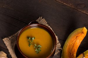 pumpkin soup in a rustic style