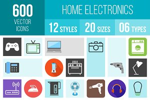600 Home Electronics Icons