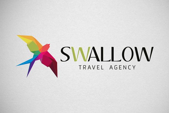 swallow vector logo creative illustrator templates creative market swallow vector logo