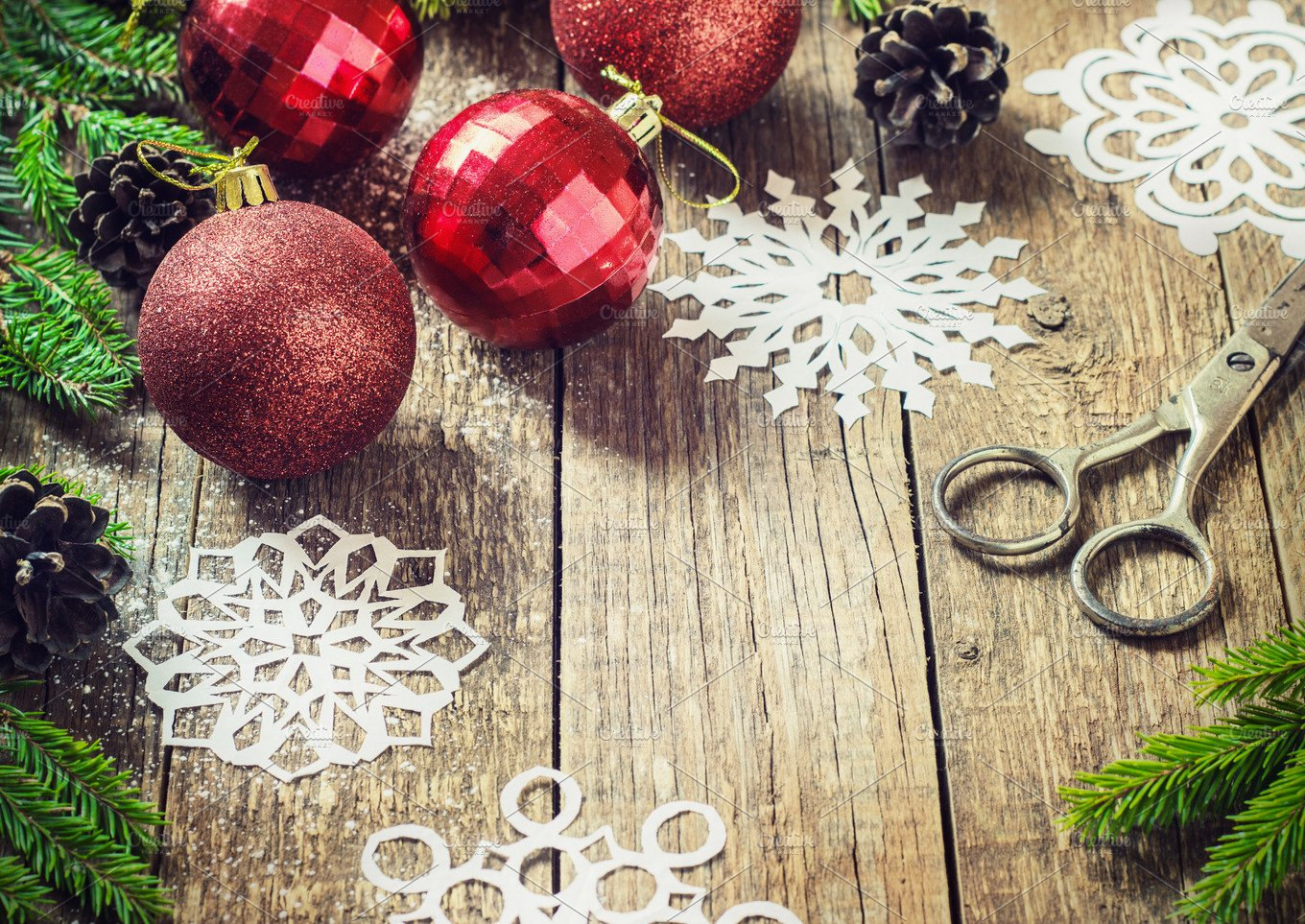 christmas decoration over wooden background decorations over wood holiday photos creative market