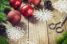 Christmas Decoration Over Wooden Background. Decorations over Wood.