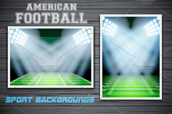 Night US. football stadium in light - Illustrations