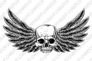 Vintage Woodcut Winged Skull