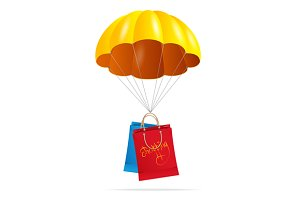 Yellow Parachute with Shopping Bag