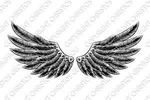 Vintage woodcut wings