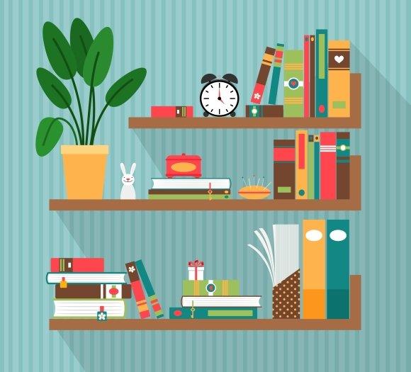 Books On Bookshelves Graphics