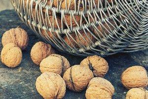 Basket with walnuts