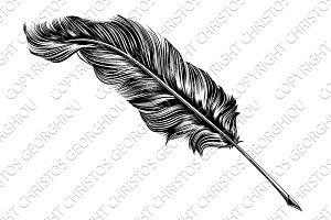 Vintage feather quill pen illustrati