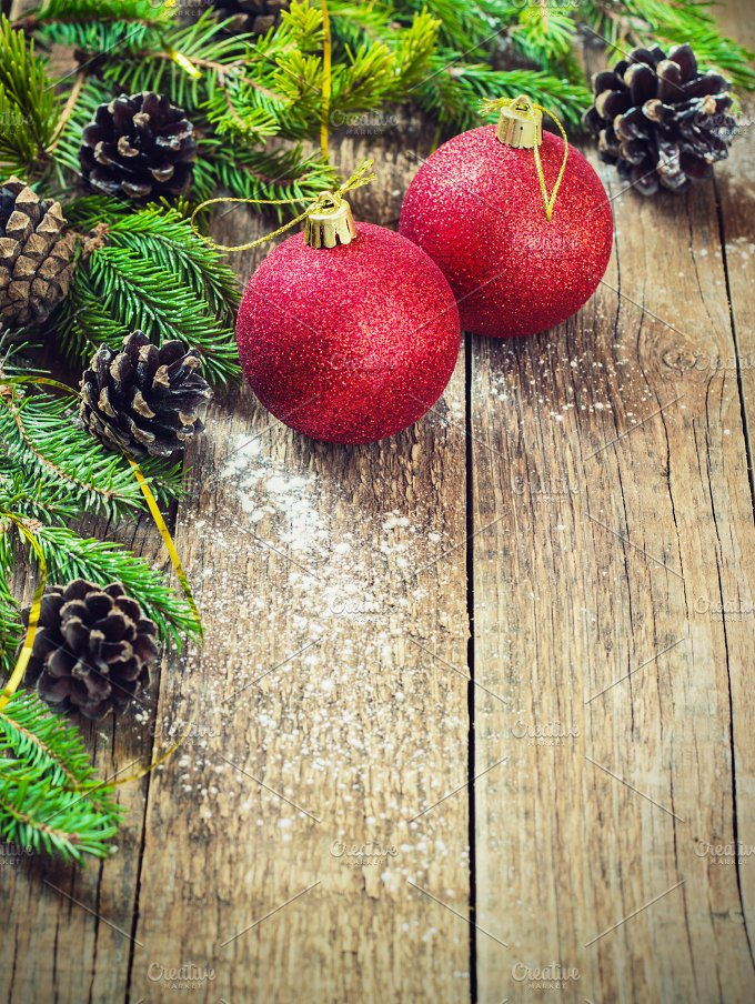 Christmas Decoration Over Wooden Background. Decorations over Wood.  - Holidays