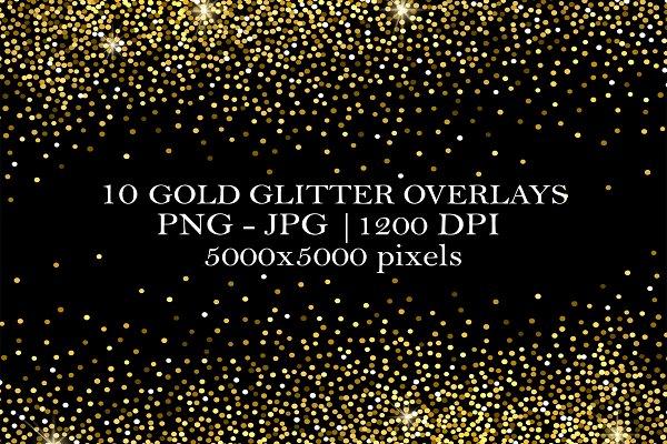 10 Gold Glitter Overlays