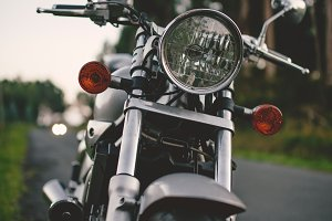 Front detail of a custom motorcycle