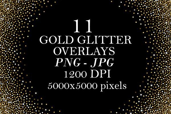 11 Gold Glitter Overlays