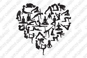 Yoga Heart Silhouettes