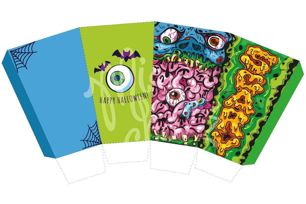 Halloween Zombie Popcorn Box in Stationery Templates - product preview 1
