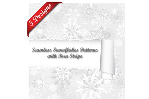 5 Snowflakes Design With Torn Stripe