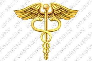 Gold Caduceus