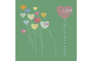 Heart flower greeting card