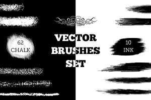 Vector chalk and ink brushes