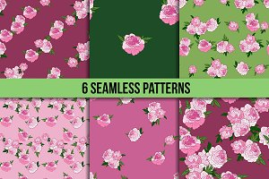 Six seamless patterns with peony