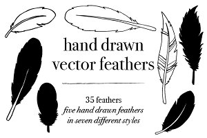 35 Vector Hand Drawn Feathers
