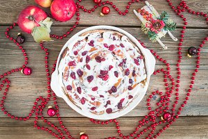 Apple, cranberry, cinnamon roll cake