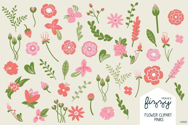 Pink Floral Illustrated Clipart Set