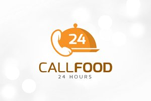 Call Food 24 Hours Logo Template