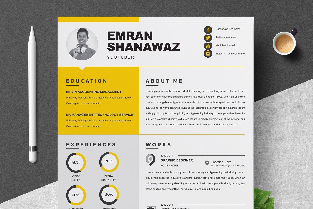 Word Resume 2 Page Cv Template Cover Letter Templates