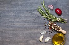 Rosemary, condiment and olive oil