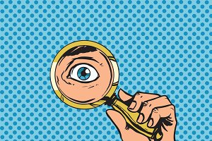 magnifying glass searching eyes