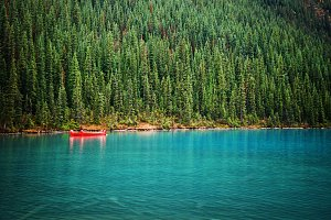Lake Louise Canoes in the Fall