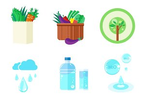 Set of 9 Nature and Organic Icons