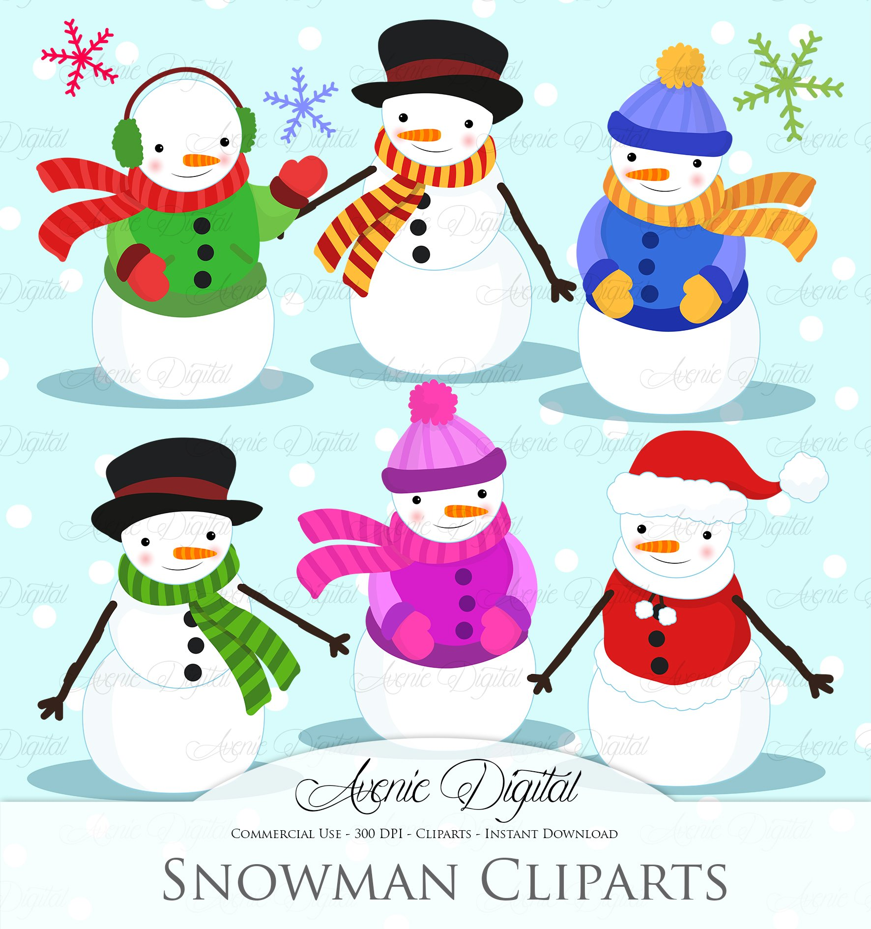 Snowflakes clipart commercial use ~ Illustrations on Creative Market