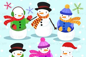 Christmas Snowman Clipart - Vectors
