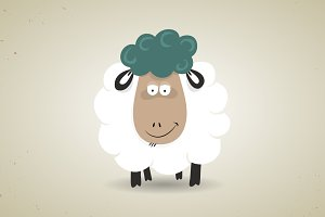 Cute cartoon smiling sheep