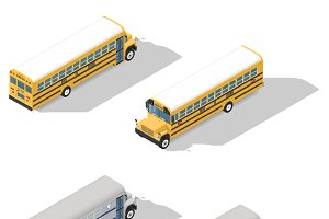 School and prison buses isometric ic