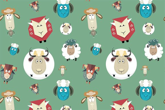 Seamless pattern of cartoon sheeps