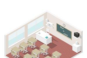 Classroom isometric icon set