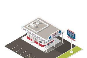 Roadside american diner isometric ic