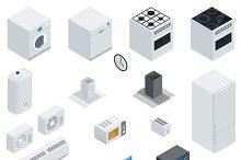 Household appliances isometric set