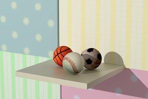 baseball, basketball and soccer