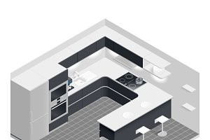 Isometric kitchen set