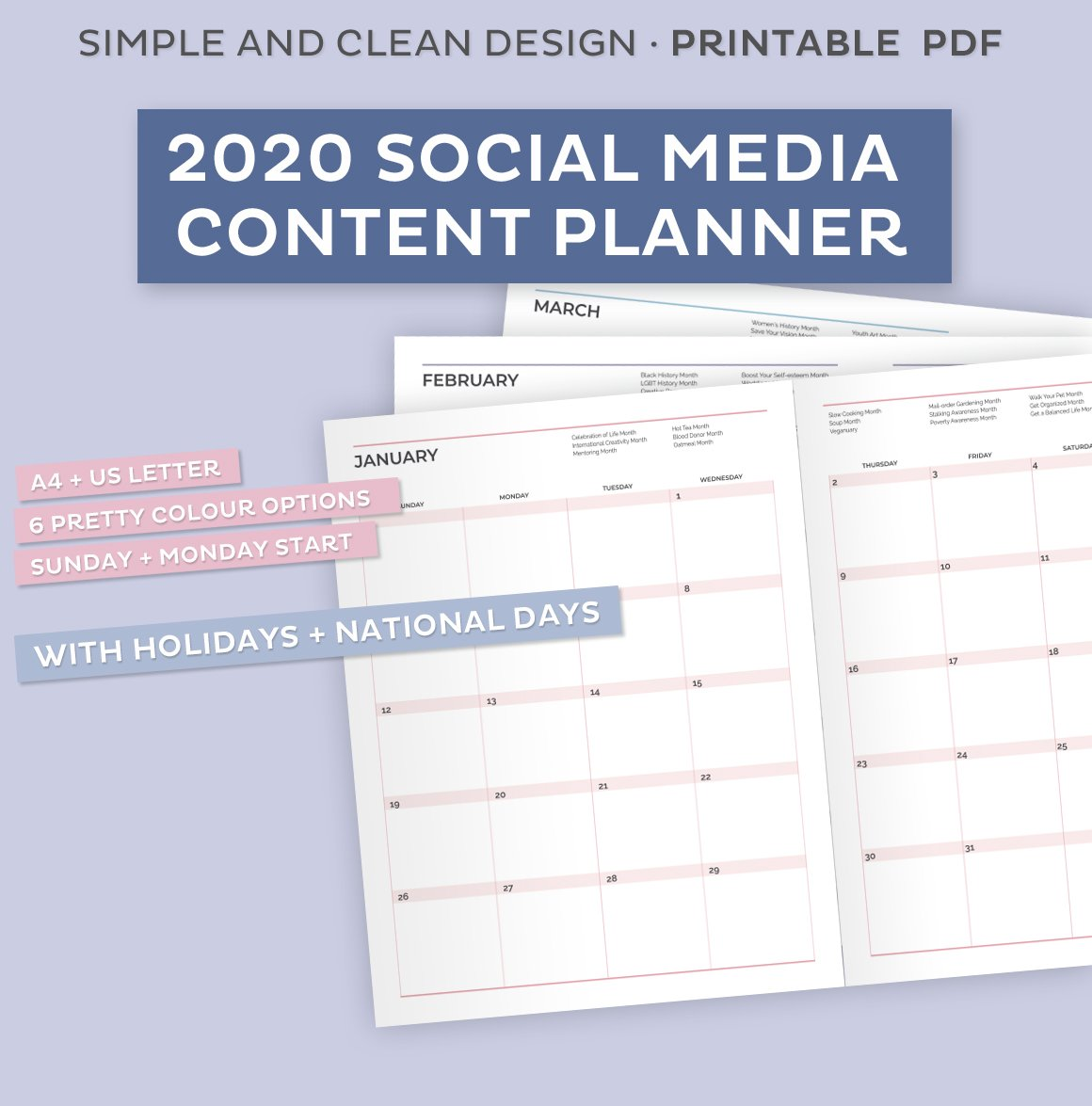 30 Social Media Content Planner   Creative Stationery Templates ...