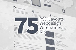 75 Layouts Webdesign Wireframe Kit